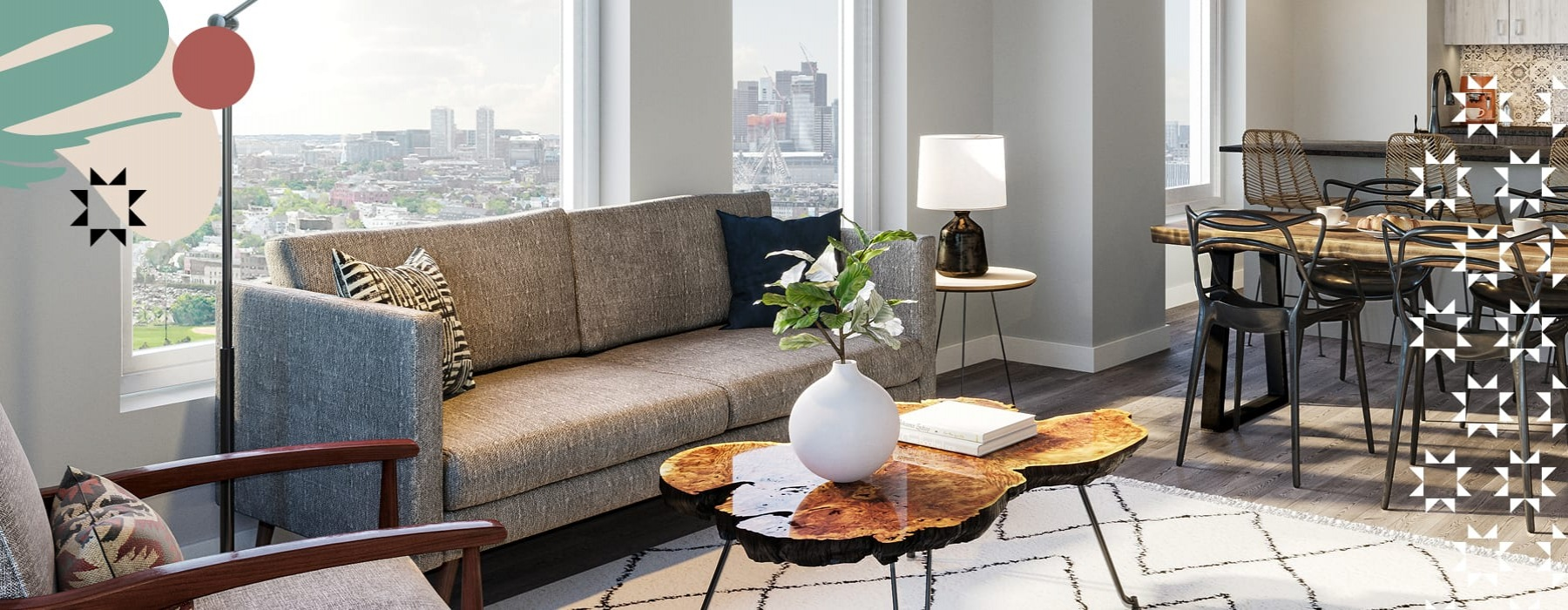 graphic showing a spacious living room with modern decor