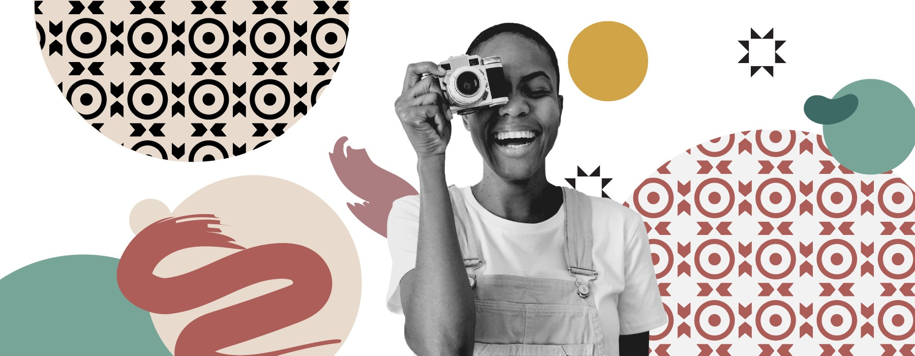 graphic of smiling young woman holding up a camera surrounded by shapes and designs